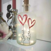 Dekoflasche Herz mit Beleuchtung