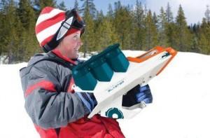 Schneeball Kanone im Einsatz