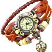 Leder Armbanduhr für Damen - Vintage Wickeluhr