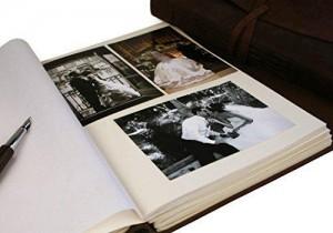 Handgemachtes Fotoalbum aus Leder Innenansicht