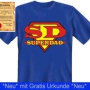 """Superdad T-Shirt + Urkunde """"Bester Vater der Welt"""""""