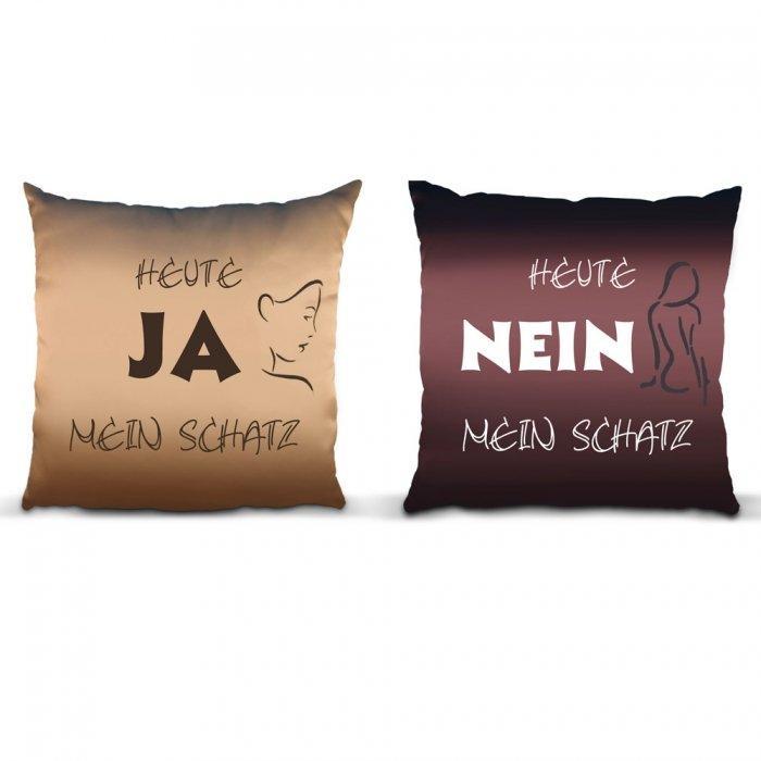 kissenbezug zum wenden ja nein witziges geschenk f r. Black Bedroom Furniture Sets. Home Design Ideas