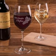 Weinglas mit Gravur in verschiedenen Ausführungen