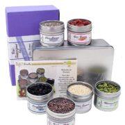 Box mit Superfoods und Rezepten