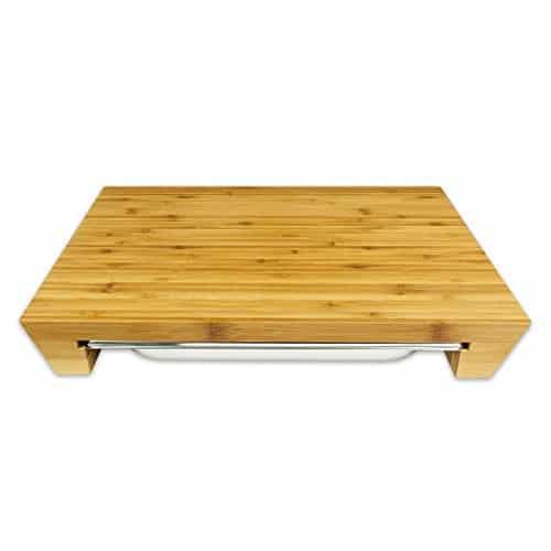 schneidebrett mit auffangbecken aus ge u00f6ltem bambus und edelstahl