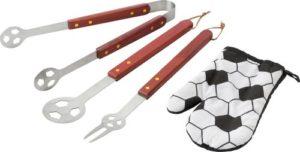 Fußballer Grillschürze - Besteck und Handschuhe
