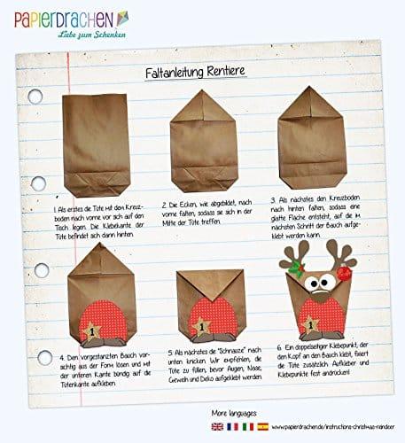 Papierdrachen Rentier Adventskalender Zum 0