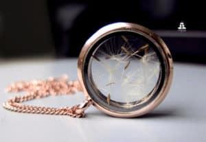 Kette Roségold-Medaillon mit Pusteblumen