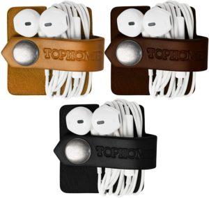 Stilvoller Kopfhörer-Wickler aus Leder