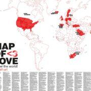 Weltkarte für Verliebte