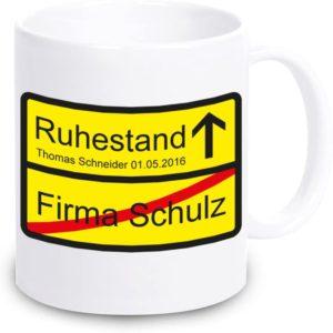 Kaffeetasse zum Renteneintritt