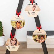 Holz-Weihnachtsschmuck mit Wunschfoto