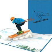 Pop-Up-Karte für Skifahrer