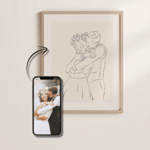 Von Hand illustriertes Line Art Kunstwerk