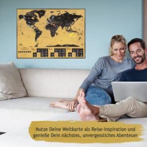 Weltkarte zum Rubbeln fürs Wohnzimmer